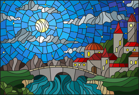 Illustration in stained glass style with the old town and bridge over a river with mountains in the background, the cloudy sky and moon