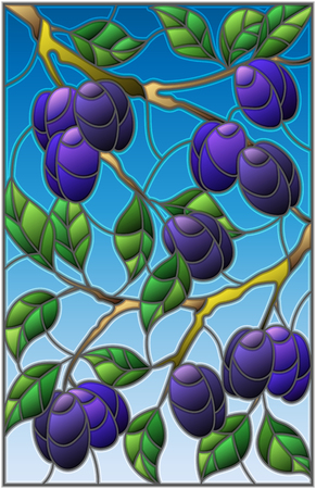Illustration in the style of a stained glass window with the branches of plum  tree , the  branches, leaves and fruits against the sky Illustration