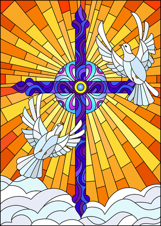 Illustration with a cross and a pair of white doves in the stained glass style 일러스트