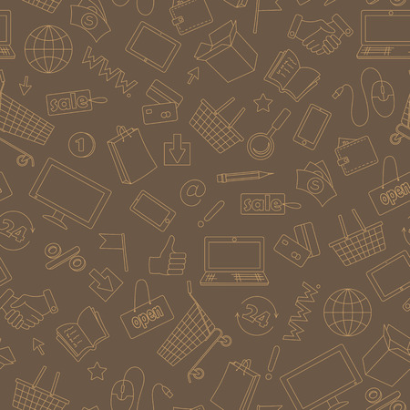 endlessly: Seamless pattern on the theme of online shopping and Internet shops, beige contour icons on brown background