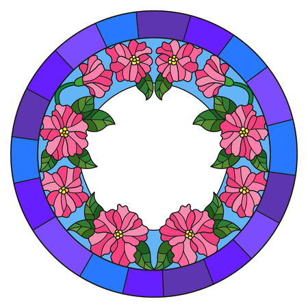 rumour: Illustration in stained glass style flower frame, pink flowers and  leaves in blue frame on a white background