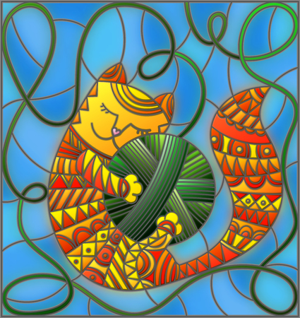 nap: Illustration in stained glass style with red funny cat embracing a ball of green thread on a blue background.