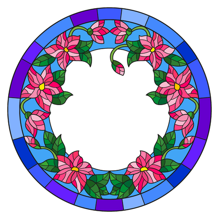 Illustration in stained glass style flower frame, pink flowers and  leaves in blue frame on a white background
