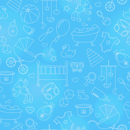 Seamless pattern on the theme of childhood and newborn babies, baby accessories and toys, simple contour icons, white contour on blue background