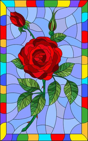 Illustration in der Buntglasartblume der Rotrose auf einem blauen Hintergrund in einem hellen Rahmen