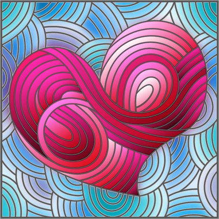 Illustration in stained glass style with an abstract pink heart on blue background