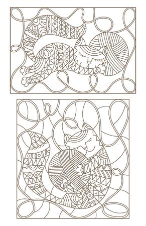 스레드의 skeins를 껴안는 귀여운 고양이와 스테인드 글라스의 윤곽선 삽화를 설정