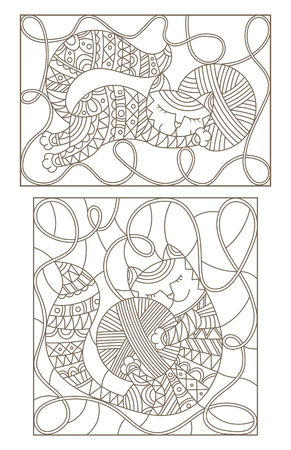Set contour illustrations of stained glass with cute cats hugging skeins of thread Фото со стока - 82486362