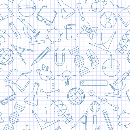 Seamless pattern on the theme of science and inventions, diagrams, charts, and equipment,a simple contour icons, dark blue outline on a light background in a cage