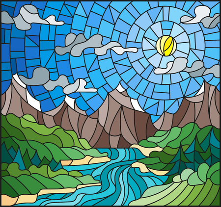 Illustration in stained glass style with the meandering river. Ilustração