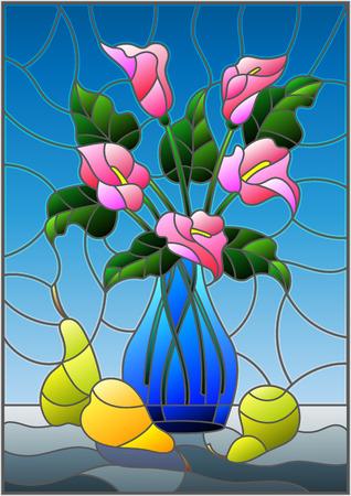 파란색 꽃병에 분홍색 칼라 칼라 백합 꽃의 부케와 스테인드 글라스 스타일로 일러스트 및 파란색 배경에 테이블에 배