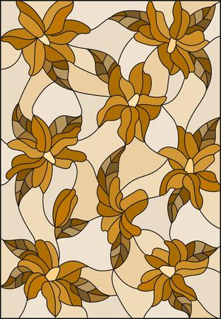 Illustrazione nello stile di vetro macchiato con gigli e foglie intrecciate, tono marrone, Seppia