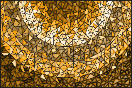 Abstract stained glass background ,monochrome,tone brown Çizim