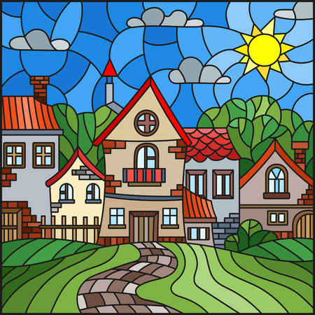 Illustration in stained glass style, urban landscape,roofs and trees against the day sky and sun Stok Fotoğraf - 82683546