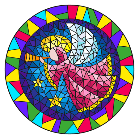 Illustration in stained glass style with an abstract angel in pink robe blowing pipe , round picture frame in bright Çizim