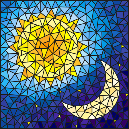 pairs: Illustration in stained glass style , abstract sun and moon in the sky