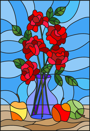 Illustration in stained glass style with bouquets of roses flowers in a blue vase and apples on table on blue background Illustration