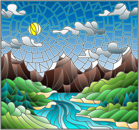 Illustration in stained glass style with the meandering river on a background of mountains, forests and Sunny sky