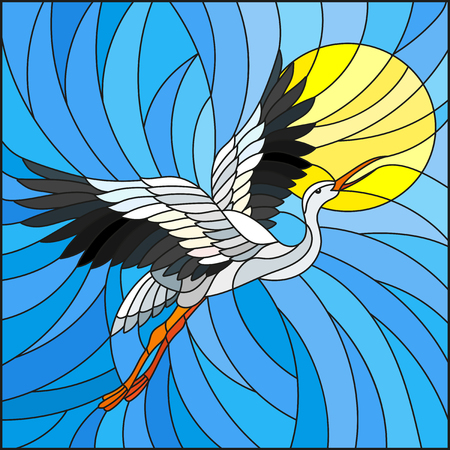 Illustration in stained glass style stork on the background of sky, sun and sun