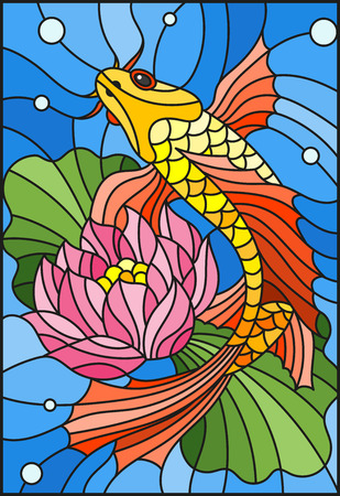 Illustration in style of a stained-glass window with a goldfish and a flower of a lotus against water and vials of air