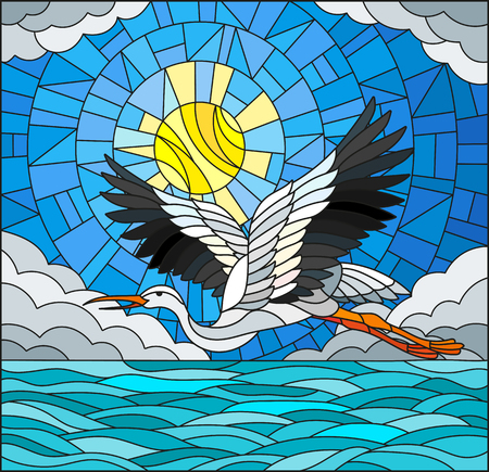 Illustration in stained glass style stork on the background of sky, sun , clouds and water