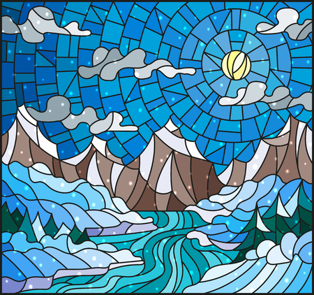 similar: Illustration in stained glass style with a winter landscape, the river against snow-covered coast and mountains