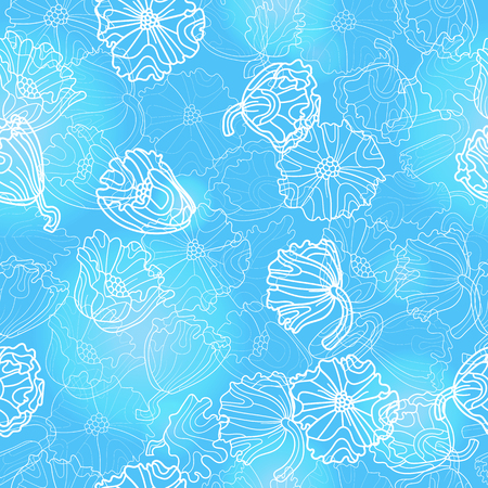 Seamless pattern with flowers and leaves of poppies, light contour plants on a blue background