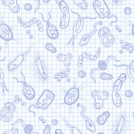 Seamless pattern with contour images of bacteria, germs and viruses ,blue  contour  icons on the clean writing-book sheet in a cage