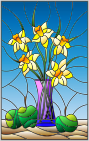 Abstract illustration of stained glass style with bouquets of Narcissus flowers in a blue vase and apples on table on blue background Illustration