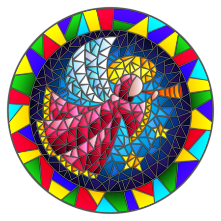 Abstract illustration of stained glass style with an angel in pink robe blowing pipe , round picture frame in bright colors Illustration