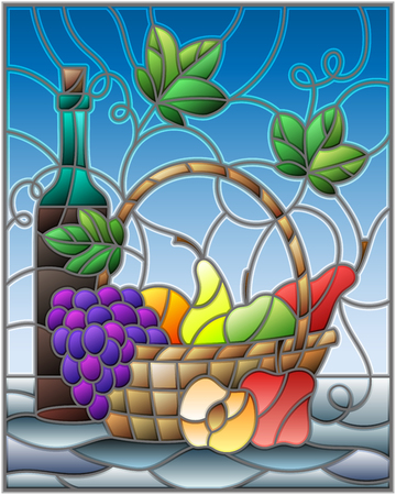 The abstract illustration in stained glass style painting with a still life, a bottle of wine,  and fruits on a blue background
