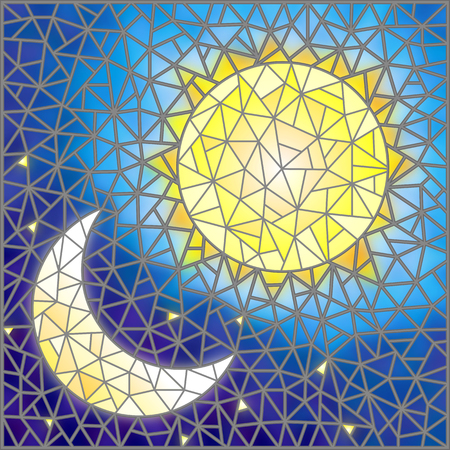 next day: Illustration in stained glass style , abstract sun and moon in the sky