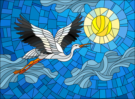 Illustration in stained glass style stork on the background of sky, sun and clouds
