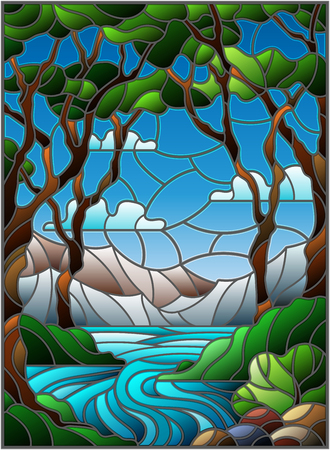 Illustration in stained glass style with a rocky Creek in the background of the Sunny sky, mountains, trees and fields Illustration