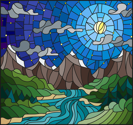 Illustratie in gebrandschilderd glasstijl met de meanderende rivier op een achtergrond van bergen, bossen en sterrige hemel Stock Illustratie