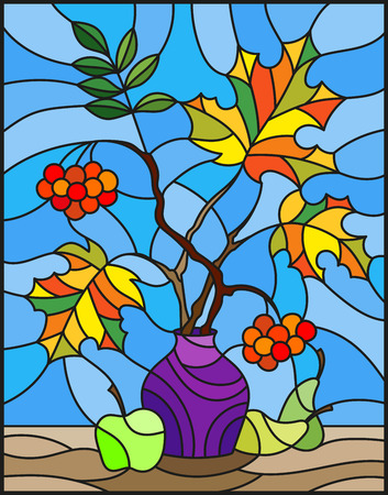 Illustration in stained glass style with autumn still life, branches of mountain ash and maple in purple vase and fruit on a blue background Illustration
