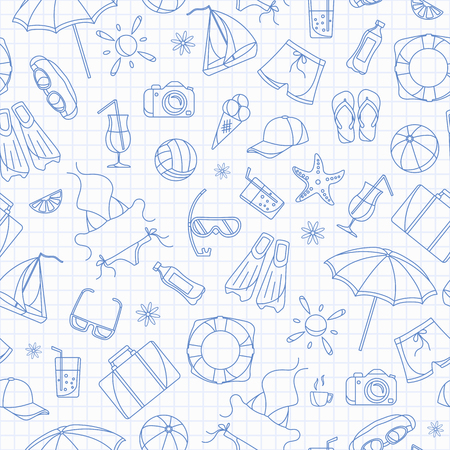 Seamless pattern on the theme of summer holidays in hot countries, blue  contour  icons on the clean writing-book sheet in a cage Ilustrace