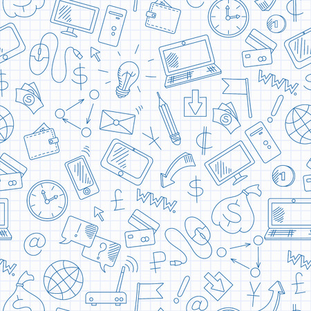 Seamless background on the topic of information technology and earn money online, simple hand-drawn contour icons, blue  contour  icons on the clean writing-book sheet in a cage