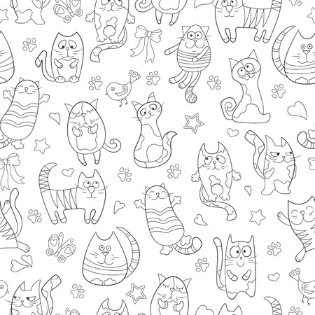 Seamless pattern with contour images cartoon cats , black contour on white background