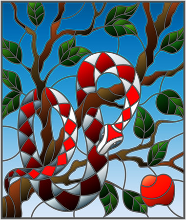 Illustration in the style of stained glass with colorful snake on the apple tree on blue background Иллюстрация