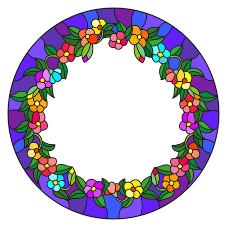mirror frame: Illustration in stained glass style flower frame, bright flowers and  leaves in blue frame on a white background Illustration