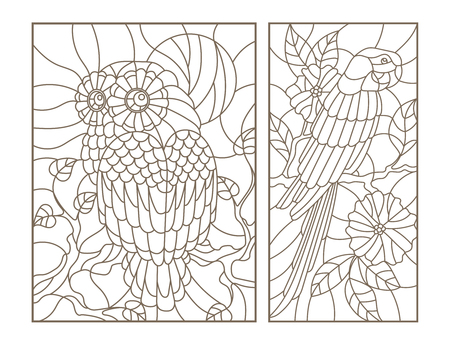 Set contour illustrations of stained glass birds the owl and parrot on the branches of trees