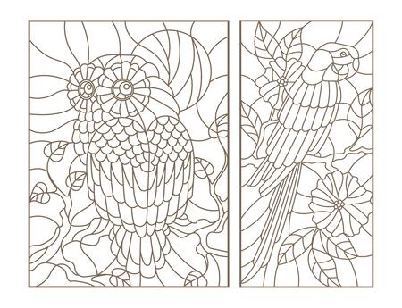 Stel contourillustraties van glas in lood vogels de uil en papegaai op de takken van bomen Stock Illustratie