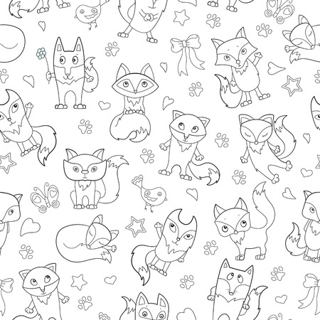 Seamless pattern with funny cartoon foxes, dark outline on a white background Illustration