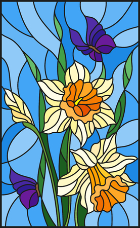 Illustration in stained glass style with a bouquet of yellow daffodils and blue butterflies on a blue background Stock Vector - 84202359
