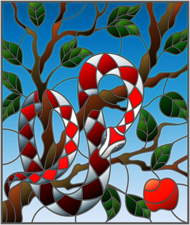 Illustration in the style of stained glass with colorful snake on the apple tree on blue background Illustration
