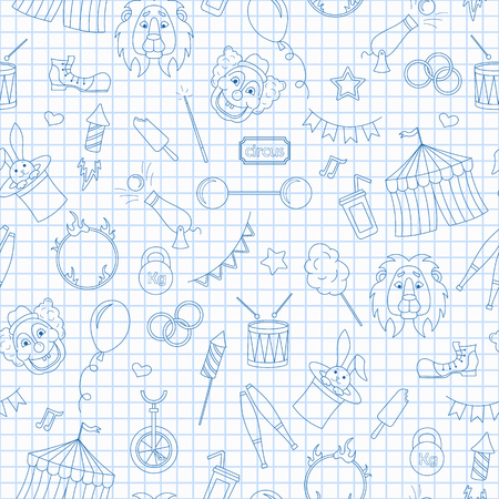 Seamless pattern on the theme of circus, simple contour icons, blue  contour  icons on the clean writing-book sheet in a cage