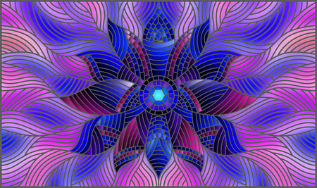 Illustration in stained glass style with bright blue abstract flower on blue wavy background, horizontal orientation