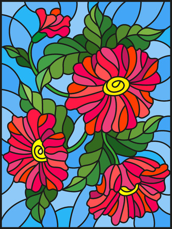 Illustration in stained glass style with three bright red flowers, buds and leaves on a blue background Illustration