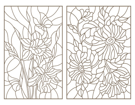 Set contour illustrations in the stained glass style with flowers, daffodils with butterflies and a bouquet of poppies